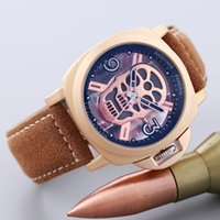 Wholesale Hot Watch Pam - Hot Sell Pam Men's Luxury Leather Strap Skull Head Hollow Design Quartz Watch Aaa Designer Skeleton Watches