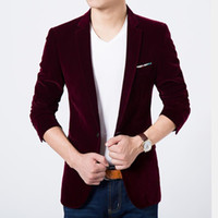 Wholesale Velvet Blazer Sale - Wholesale- Mens blazer high quality suit jacket korean fashion velvet blue blazer Male casual jacket single breasted plus size 6XL on sale