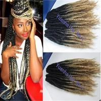 "Wholesale Top Kanekalon Hair - Stock top quality 20"" black blonde two tone braid hair kanekalon synthetic kinky twist marley braiding hair"