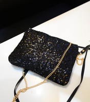 Wholesale Metal Clutches Wholesale - 5pcs 2016 Newest Women Fashion Metal chain Sparkling Bling Sequin Shoulder bags Clutch Purse Evening Party Handbag Bags