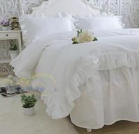 Wholesale Set Princess Skirt - Korean princess Pure white cotton satin ruffles luxury bedding sets 4pcs, pillowcase, bed skirt Duvet Cover