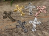 Wholesale Bronze Cross Jewelry - 07588 37*52mm antique bronze silver rose gold gun black filigree crucifix charms for jewelry making, religious item necklace cross pendants