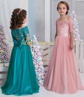 Wholesale cheap short pageant dresses - Cheap 2018 Arabic Flower Girl Dresses Short Sleeves Lace A-line Child Wedding Dresses Vintage Little Girl Pageant Dresses FG15