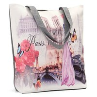 Wholesale London Shopping Bag - Wholesale-New Arrival Womens Handbags Fashion London Tower Printed Simple Style Vintage Zipper Lady Shoulder Bags Shopping Bag 5 Style