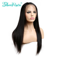 Wholesale Baby Hair Remy Lace Wigs - Slove Rosa Straight Wig Lace Front Human Hair Wigs Brazilian Remy Hair Natural Hairline With Baby Hair Wigs For Black Women