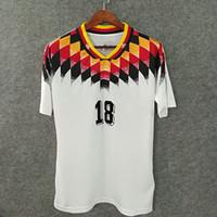 Wholesale Germany Away - Classic retro soccer jerseys 1994 germany home away custom name number 3D Velvet font KLINSMANN 18 football shirts AAA quality deutscher