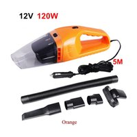 Atacado-Hot Portable Car Aspirador 120W 12V 5M Cabo Handheld Mini Super Sucção Molhado e Seco Dual Use Vaccum Cleaner Para Car Waste