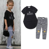 Wholesale Tuxedo Suits For Girls - Fashion Girls Clothes Sets 2016 Girl Black Tuxedo Shirt + Stipe Pants 2pcs Kids Outfits Baby Girl Clothing Child Suit for 2-7T