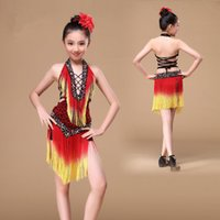 Wholesale Latin Outfits - 8-15 Years Girls Latin Dance Dress 2017 Performance Children Dance Outfit V-neck with Beads Backless Tassel Fringe Competition Dresses