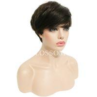 Wholesale Gluless Lace Wigs - None Full Lace Human Cut Hair Wigs Brazilian Virgin Straight Hair Gluless Lace Front Human Natural Hair Wigs for Black Women