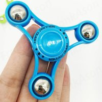 Wholesale Eiffel Tower Boxes - Eiffel Tower Spinner Steel Ball Tri-Spinner with Retail Box Fidget Spinners with Replaceable Caps 3 Colors EDC Anti-stress Novelty Toys
