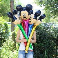 Wholesale Inflatable Head Balloon - 20pcs lot minnie mickey balloons mickey head shaped foil long balloon stick mickey mouse party decoration globos inflatable toys