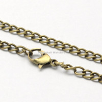 """Wholesale Sliver Chain Watch - Wholesale- Vintage Iron Twist Chain Necklace Making for Pocket Watches Design with Lobster Clasps Golden Sliver,Black,Antique Bronze,31.5"""""""