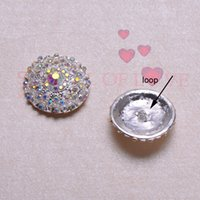 Wholesale 28mm Buttons - (J0490) 28mm diameter metal rhinestone button ,with loop at back,silver plating,all AB crystals
