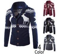 cardigans en tricot cerf achat en gros de-Mode Cardigans Jacquard Hommes Pulls Tricoté Noël Deer Homme Pull Décontracté Turn Down Col Manches Longues M-XXL livraison gratuite