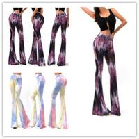 Wholesale Tie Sexy Pants - Fashion Women Sexy Bell Bottom Long Tie Dye Flare Stretch Boho Hippie Pants Women Summer Trousers