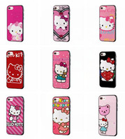 Wholesale Kitty Cell Iphone Case - Bling Hello Kitty TPU PC Case For Iphone 7 7Plus Plus 6 6S SE 5 5S Iphone7 I7 Silk Grain Cartoon Tiger Lovely Cell Phone Skin Cover 100pcs