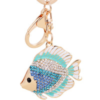 Wholesale Tropical Fish Pendant - Bling Bling Crystal Rhinestone Cute Tropical Fish Metal Keychain Keyring Car Keychains Purse Charms Handbag Pendant Best Gift
