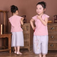 Wholesale Chinese Tang Suit Style Child - 2017 Summer Girl Clothes Sets Cotton Short Sleeve Chinese Traditional T-Shirts Pants Children Clothing Suit Kids Outfits Tang Jumpers Shirt