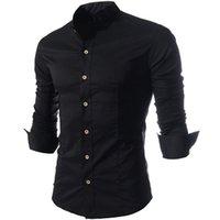 Wholesale Shirt Men Brand Elegant - 2016 New Brand Quality Elegant Stand Collar Casual Mens Dress Shirts Fashion Slim Fit Long sleeve Social Camisa Masculina M-XXL