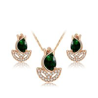 Wholesale Crystal Necklace Jewelry Kits - Luxury Jewelry Set Flower Bud Shape 18K White Gold Plated Pendant Necklace Earring Studs Kit with Olivine Green Crystals For Woman