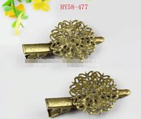 Wholesale Hair Bronze Diy - 50pcs lot 58-477 Retro headdress accessories Flower hairpin one One word clip anqitue bronze flower hair cilp diy jewelry barrettes hot sale