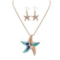 conjunto de brincos de estrela do mar set venda por atacado-Bijuterias define a Europa e os Estados Unidos em nome de um grande Moda Pingente Brincos Colar Conjunto impertinente starfish nightclub nec