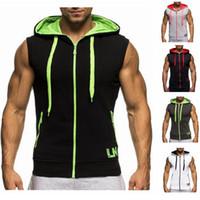 Wholesale White Sleeveless Hoodie Men - Free Shipping 2016 New Mens Hooded Vest Gilet Men Fashion Sport Sleeveless Hoodie Chaleco Hombre