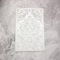 padrões de corte a laser venda por atacado-20 pcs - prata pérola metálico papel a laser cartões de corte retângulo suporte de cartões de convite de casamento com padrão de fantasia
