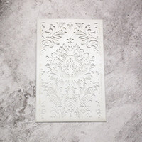 Wholesale Cut Holder - 20 pcs - silver pearl metallic paper laser cut cards rectangle wedding invitation cards holder with fancy pattern