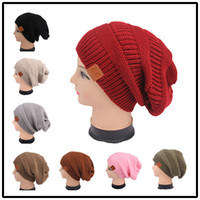 Wholesale Womens Church Hats Wholesale - Unisex Fashion 9 Colors Knitted CC Women Beanie Girls Autumn Casual Cap Womens Warm Winter Hats Unisex Men Casual Knitted Hat