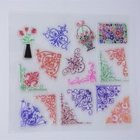 Wholesale Acrylic Frame Sheet - Wholesale- New Scrapbook DIY Photo Album Cards Transparent Acrylic Silicone Rubber Clear Stamps Sheet Lace Flower Frame Pot