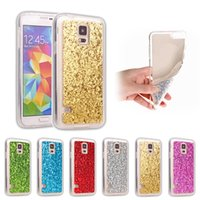 Wholesale galaxy s4 body - Bling Glitter Powder Transparent Full Body Protective Shell Soft TPU Frame Hard Acrylic Back Cover for Samsung Galaxy S3 S4 S5 mini