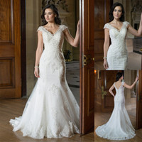 Wholesale Delicate Mermaid V Neck - Elegant Beaded Lace Fit & Flare Bridal Gown With Cap Sleeves And Delicate Floral Lace Underlay v-Neck Applique Mermaid Wedding Dress