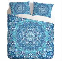 ingrosso biancheria da letto floreale blu-Set di biancheria da letto bohemien Mandala stampa blu Boho singolo doppio Queen King Size Set copripiumino 3 pezzi Mandala Floral Paisley Biancheria da letto