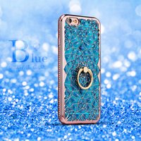 Wholesale Wholesale Cell Phone 3d Rhinestones - Cell Phone Bling Cellphone Case 3D Electroplating Soft TPU Phone Crystal Rhinestone Cover for iPhone 5 5S 6 6s 7 Plus 4 Colors