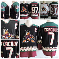 Wholesale Phoenix Coyotes KEITH TKACHUK Jeremy Roenick Black World Cup Hockey Jersey Ice Winter Jersey All Stitched Black Whit