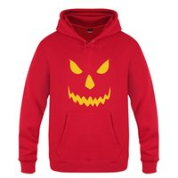 Wholesale green face scary halloween - Halloween Scary Pumpkin Orane Face Casual Mens Hooded Hoodie Long Sleeve Tracksuit Top For Winter Autumn