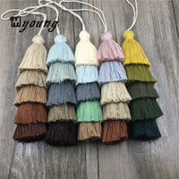 Wholesale Ombre Necklace - Layered Tassels Five Tier Jewelry Tassels Pendant Triple Cotton Tassel Ombre Tiered Earrings Tassels for Jewelry making MY1490