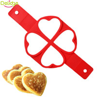 Wholesale Heart Shaped Omelette - Delidge 10 pc 4 Holes Love Egg Pan Mold Silicone No Stick Flippin Egg Mold Perfect Pancakes Heart Shape Omelette Kitchen Tool