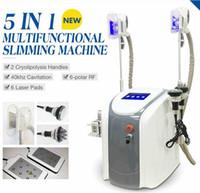Wholesale Laser Lipolysis Machines - Hot Sale !! 5 in 1 Cryo Lipolysis Fat Freezing Machine Cryotherapy Slimming Cavitation RF Machine Fat Reduction Lipo Laser With 2 Cryo Handl