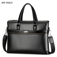Atacado- Man Business Briefcase Bag Alta qualidade Leather Men Briefcases Office Work Bags Famous Brand Large Size Bag