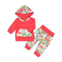 Wholesale Tutu Fashion China - 2017 Hot Fashion Baby Suits Cute Toddler Baby Girl China Red Floral Hoodie Tops Flowes Pants Clothes 2pcs Outfits Set Autumn Winter Clothing