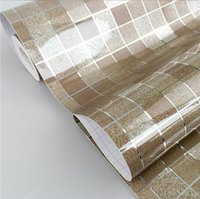 Wholesale Pvc Self Adhesive Foil - 44x200cm Waterproof Mosaic Aluminum Foil Self-adhensive Anti Oil Kitchen Wallpaper Heat Resistance Wall Sticker DIY Home Decor