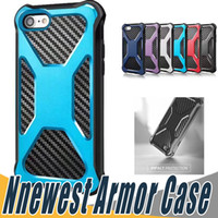 Wholesale shell carbon - For Sumsung S8 Plus Hybrid Armor Dual Layer Case Carbon Fiber Shockproof Tough Protective Shell Cover For iPhone 8 7 6 6S Plus