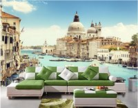 Wholesale boat landscape painting resale online - 3d room wallpaer custom mural photo Italy Venice River boat landscape picture decoration painting d wall murals wallpaper for walls d