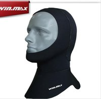 Wholesale Ear Security - Winmax 5mm Closed Security Neoprene Unisex Professional Wetsuits Cap Keeping Warm Diving Cap Swimming Hat Black