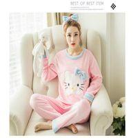 Wholesale Kitty Girl S Sets - Wholesale- Cartoon Women Pajamas Sets 2017 Cotton Autumn&winter Long Sleeve Nightgown Girls Pajamas Sets Hello Kitty Style Clothing