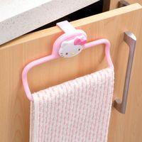 Wholesale Cabinet Bath - Wholesale- hello kitty Free hole towel bar kitchen cabinet door frame hang dishcloth back rack single rod hanging bar towel rack