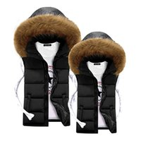 Wholesale Cheap Down Jackets Men - Wholesale- Unisex Men Vest Winter Fur Hooded Vest for Men Warm Coats Jackets Black Fashion Cheap Mens Down Vests Veste Paillette Homme